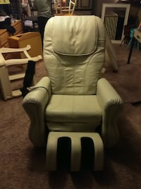 White leather padded massage chair good condition