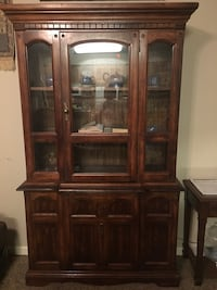 Brown wooden framed glass display cabinet Chico, 95973