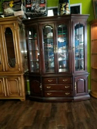 brown wooden framed display cabinet Fort Wayne, 46808