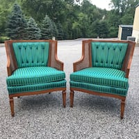 Vintage Mid Century Striped Lounge Chairs Chester Heights, 19342