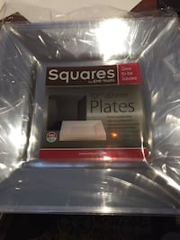 90 pieces of clear square dinner plates 10 3/4