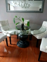 clear glass top table with white base Toronto, M1E 3P4