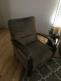 brown wooden framed gray padded armchair 2339 mi