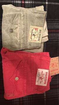 gray and red True Religion pants