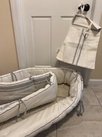 Crib bumper guard with matching diaper holder