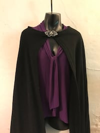 Vintage 100% vrgn wool handmade Cape w/ silver Celtic double Snake clasp Middletown, 06457