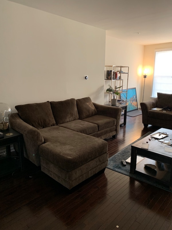 NEW Brown fabric Sectional AND Loveseat