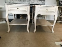 two white wooden side tables London, N6K 1L4