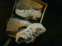 gray-and-white running shoes with box