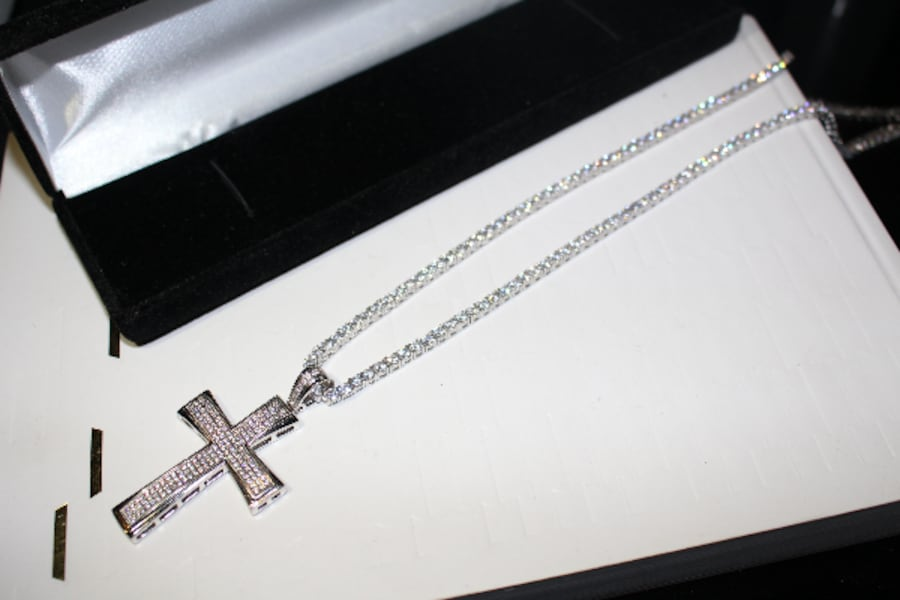 3MM SOLID 925 SILVER ICED OUT FLOODED LAB SIMULATED DIAMONDS 60CT TENNIS CHAIN NECKLACE W/ ICED OUT CROSS 20CT PENDANT cabcc527-1683-4005-96a8-b6cfadc9a54c