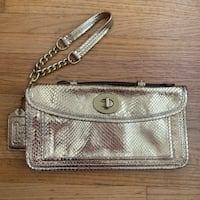 Coach limited edition metallic snakeskin embossed leather large clutch Vancouver, V6E 1W2