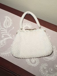 1950's VINTAGE IVORY BEADED PURSE 11 km
