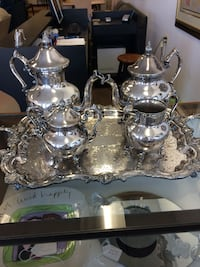 Silverplate Tray, Coffee, Tea, Creamer, Sugar
