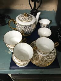 white and brown ceramic tea set Montréal, H1G 5Z4