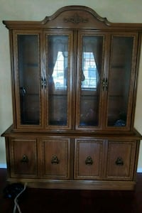 brown wooden framed glass china cabinet Toronto, M4G
