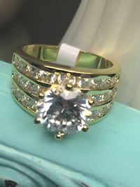 18k Gold Filled Engagement Wedding Ring With Clear CZ Size 6,9,10