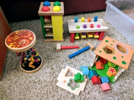 Melissa & Doug pounding bench, pound and roll, cube and slider.