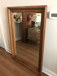 Antique stained hardwood mirror