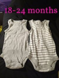 two white and gray onesies