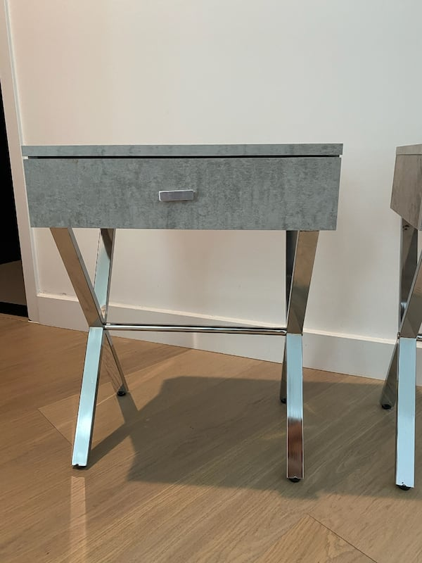 Stylish Gray & Silver Nightstands (2) 84ce13f9-5ced-45f2-9f1d-8ec8c0997f0a