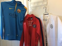 three blue, red, and white jackets Laval, H7W 1M5