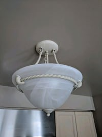 white and gray pendant lamp