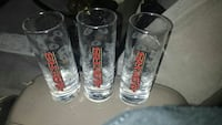 three San Francisco 49ers drinking glasses