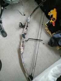 gray and black compound bow