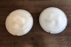 Flushmount Ceiling Light with White Marbled Glass (New Condition)
