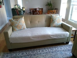 FREE FOR PICKUP - Cream Coloured Leather Sofa