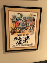 Portrait of the armchair athlete funny picture with frame
