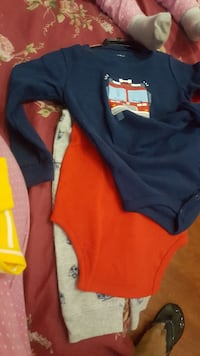 baby's white, blue, and red long sleeve onesie Markham, L3S 4V7