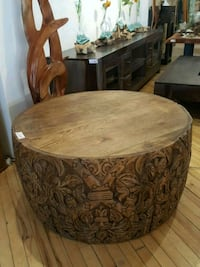 round brown wooden table with chairs Montréal, H2R 2X6