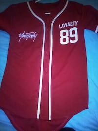 red and white Loyalty 89 baseball jersey shirt one