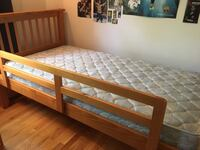 Twin size bed plus mattress - very Good shape. Maple. Includes side railing easily taken off/ put on. Washington, 20006