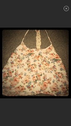 women's beige floral print alter top