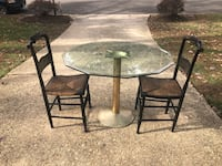 Unique glass top table with two antique chairs - black Cain chairs  Alexandria, 22309