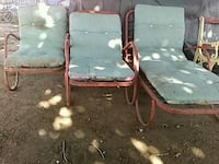 three red steel lounge chairs Fresno, 93728