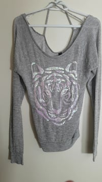 gray and white scoop-neck long-sleeved shirt Surrey