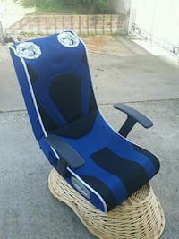 blue and black gaming chair