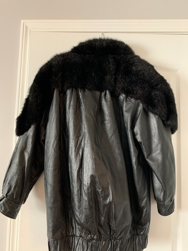 outlet boutique 100% authentic wholesale sales Used J Percy for Marvin Richards oversized leather jacket w/fur ...