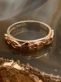 Vintage 10k Rose Gold and Sterling Silver Year 2000 Millennium Tree Of Life Ring Designed by Clogau In The UK.