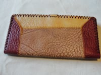 red and white leather wristlet WOODBRIDGE