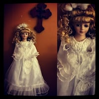 blonde hair doll wearing white gown collage Satsuma