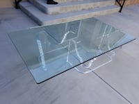 rectangular clear glass-top table Cypress