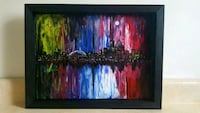 16x12 inches Toronto skyline fluid painting  Kitchener, N2H 2T2