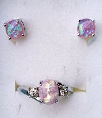 White gold plated pink opal earrings and ring set  Baltimore, 21224