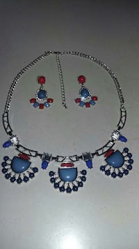 silver and blue beaded collar necklace and pair of Bridgeville, 19933