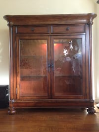 Brown wooden framed glass display cabinet- excellent condition!