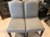 Set of 2 Side Chairs with Button-tucked Grayish-blue fabric.  Gaithersburg, 20879